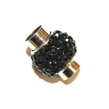 7mm - 17mm*14mm Black stone pave crystal magnetic clasps -rhodium-05